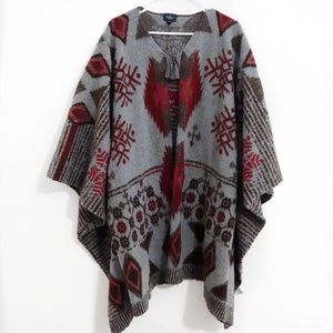 AMERICAN EAGLE GRAY AND RED AZTEC KNIT PONCHO